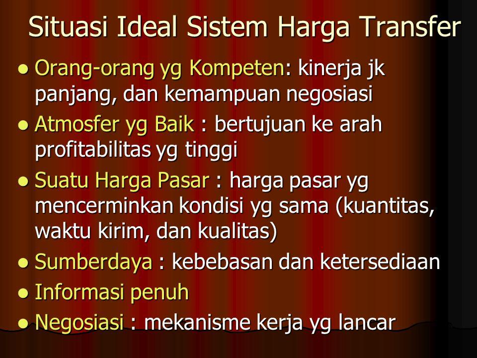 Situasi Ideal Sistem Harga Transfer Orang-orang yg Kompeten: kinerja jk panjang, dan kemampuan negosiasi Orang-orang yg Kompeten: kinerja jk panjang,