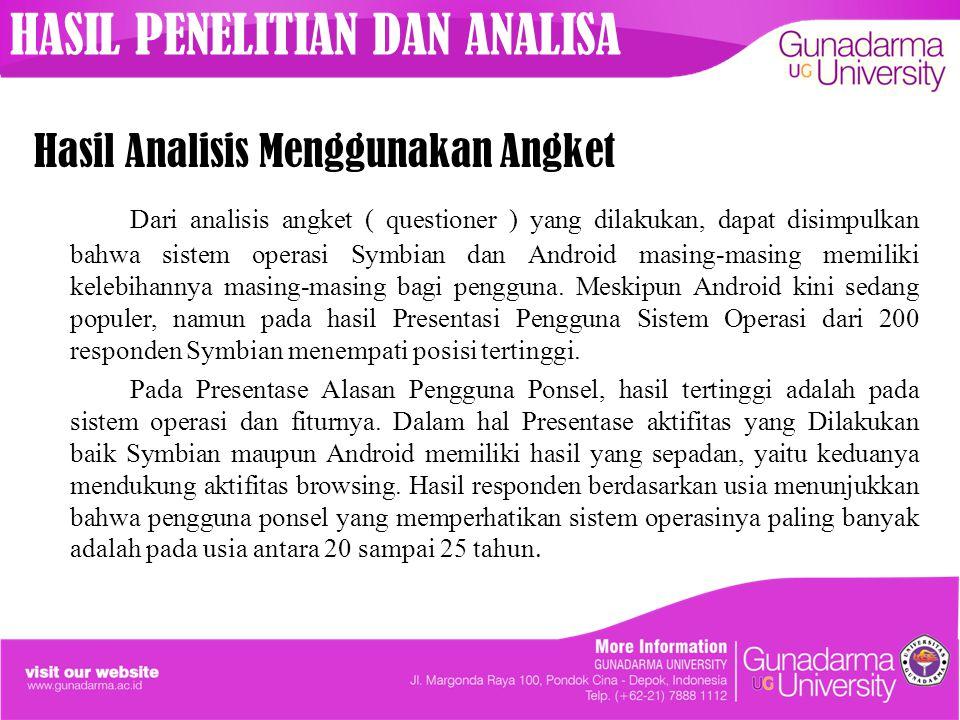 Hasil Analisis Menggunakan Angket Dari analisis angket ( questioner ) yang dilakukan, dapat disimpulkan bahwa sistem operasi Symbian dan Android masin