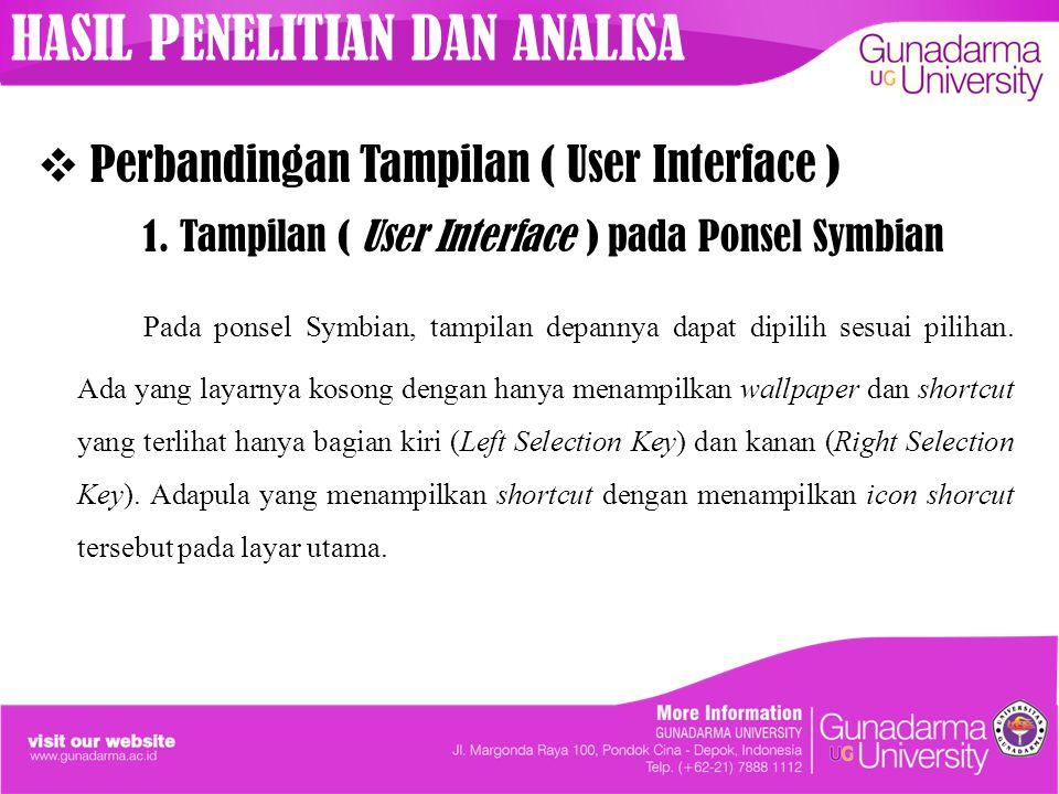 Perbandingan Tampilan ( User Interface ) 1. Tampilan ( User Interface ) pada Ponsel Symbian Pada ponsel Symbian, tampilan depannya dapat dipilih ses