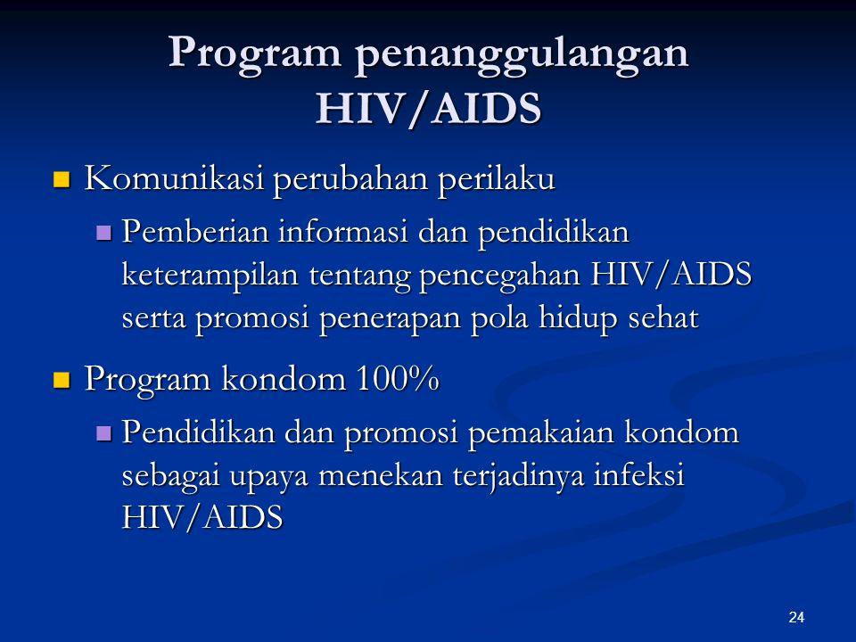 24 Program penanggulangan HIV/AIDS Komunikasi perubahan perilaku Komunikasi perubahan perilaku Pemberian informasi dan pendidikan keterampilan tentang