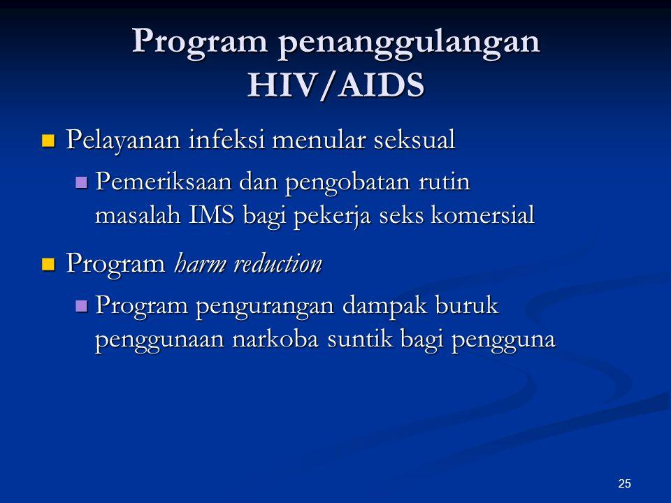 25 Program penanggulangan HIV/AIDS Pelayanan infeksi menular seksual Pelayanan infeksi menular seksual Pemeriksaan dan pengobatan rutin masalah IMS ba