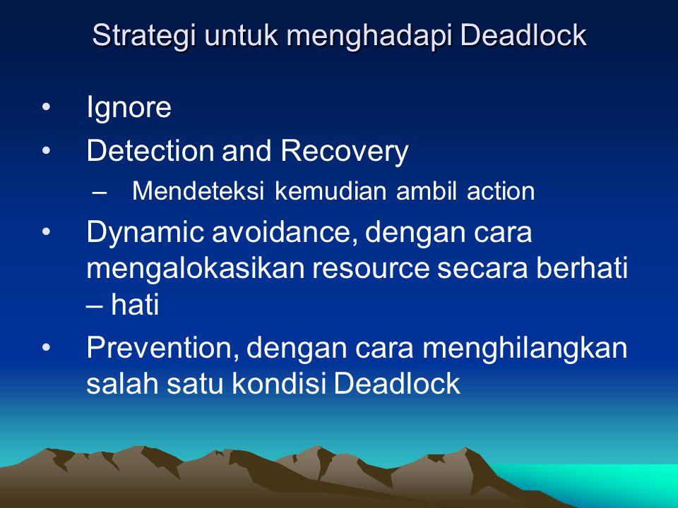 Strategi untuk menghadapi Deadlock Ignore Detection and Recovery –Mendeteksi kemudian ambil action Dynamic avoidance, dengan cara mengalokasikan resou