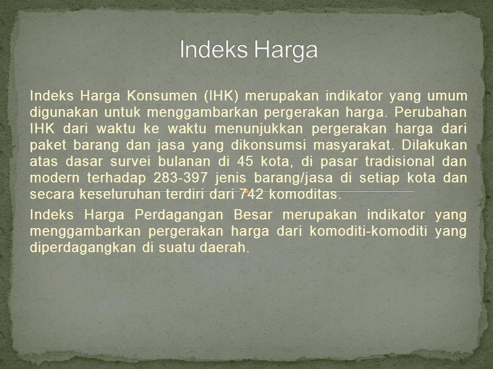 Indeks Harga Konsumen (IHK) merupakan indikator yang umum digunakan untuk menggambarkan pergerakan harga.