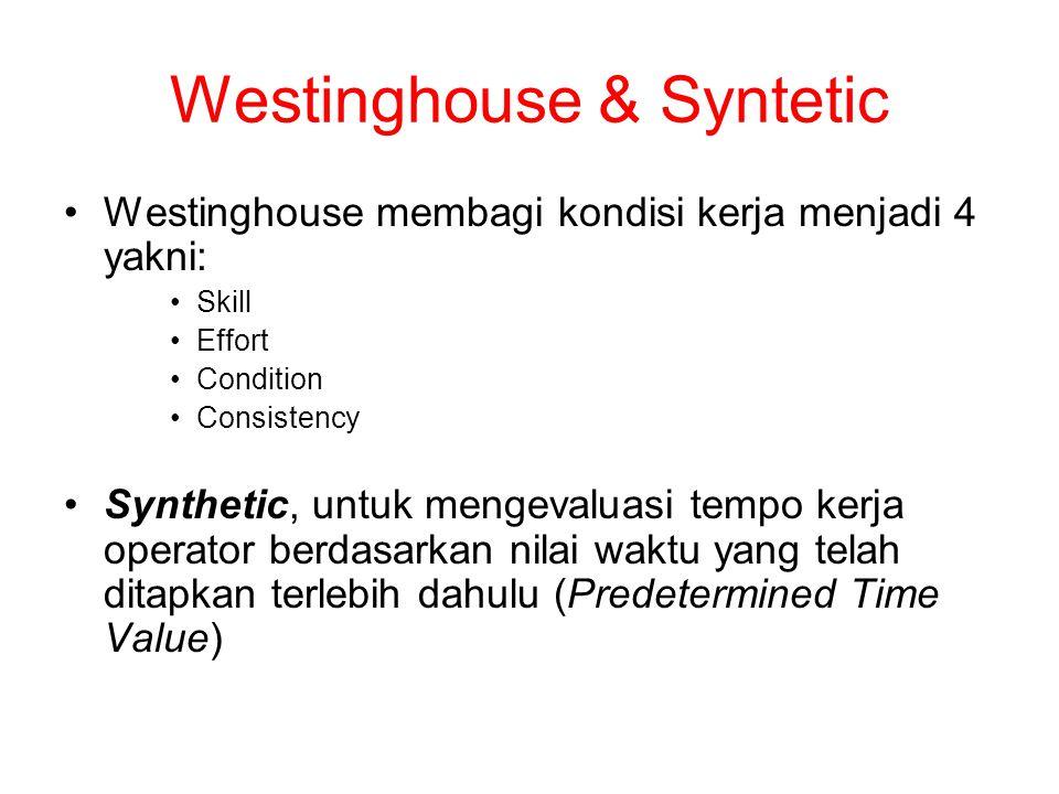 Westinghouse & Syntetic Westinghouse membagi kondisi kerja menjadi 4 yakni: Skill Effort Condition Consistency Synthetic, untuk mengevaluasi tempo kerja operator berdasarkan nilai waktu yang telah ditapkan terlebih dahulu (Predetermined Time Value)