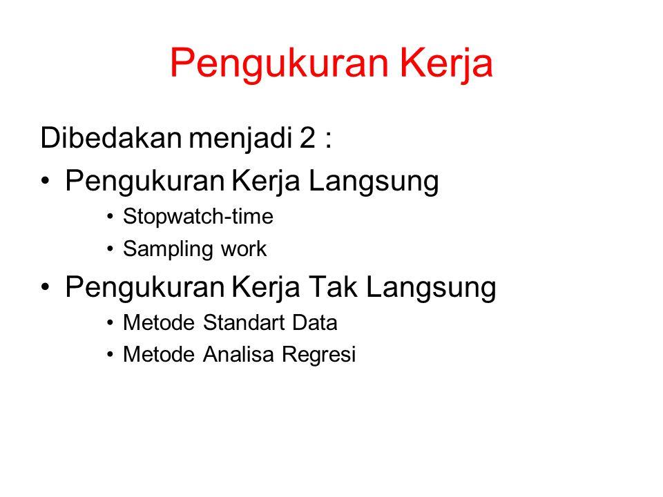 Pengukuran Kerja Dibedakan menjadi 2 : Pengukuran Kerja Langsung Stopwatch-time Sampling work Pengukuran Kerja Tak Langsung Metode Standart Data Metode Analisa Regresi