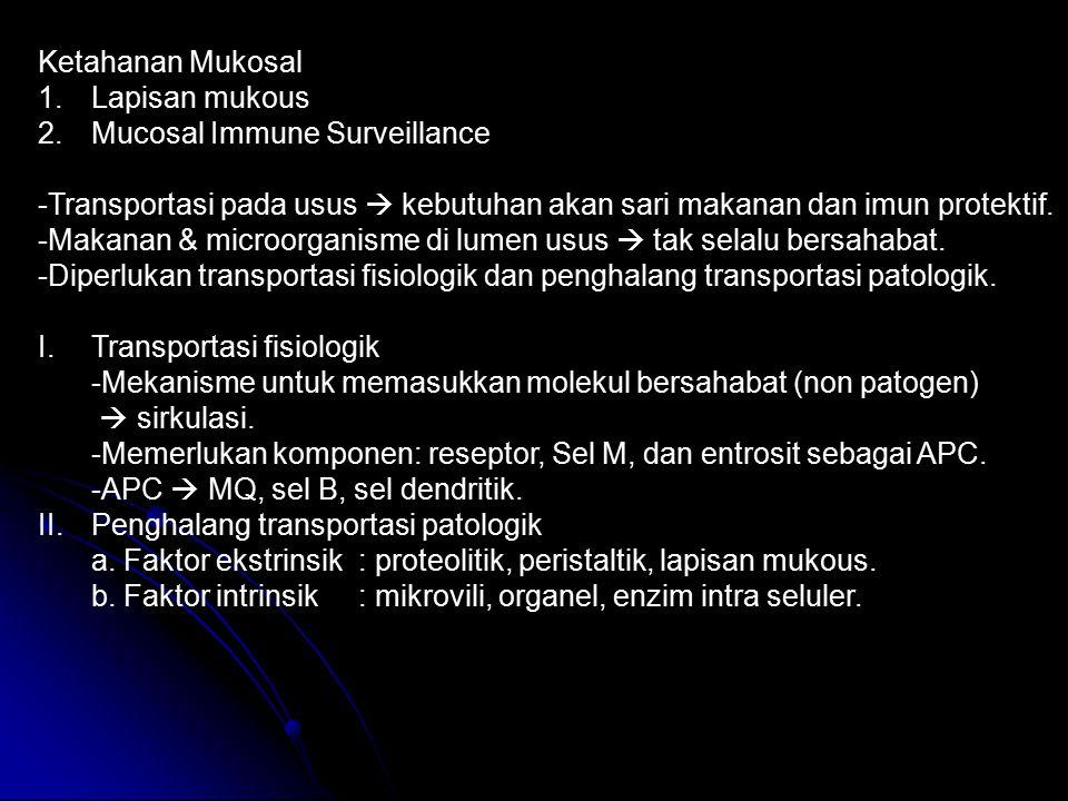 Ketahanan Mukosal 1.Lapisan mukous 2.Mucosal Immune Surveillance -Transportasi pada usus  kebutuhan akan sari makanan dan imun protektif. -Makanan &