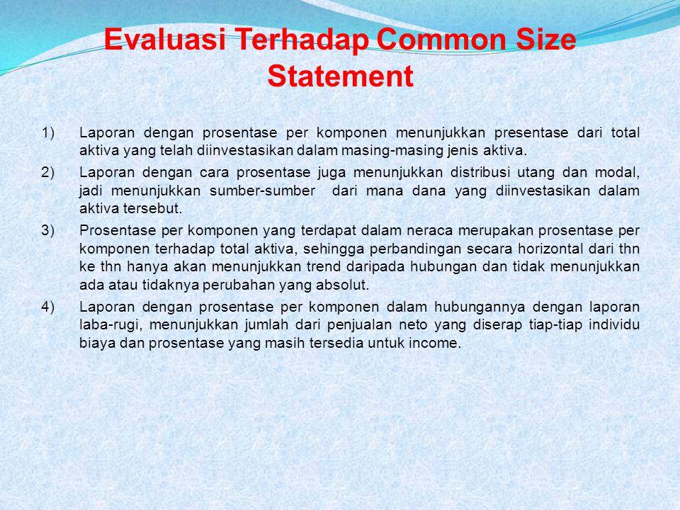 Common size statement Merupakan laporan yang disajikan dalam bentuk prosentase.