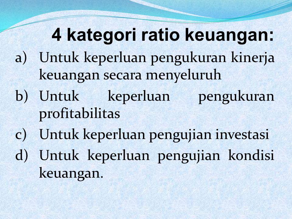 ANALISIS RATIO MANFAAT ANALISIS RATIO 1)BAGI MANAJEMEN Untuk perencanaan dan pengevaluasian prestasi perusahaanya bila dibandingkan dengan rata-rata industri.