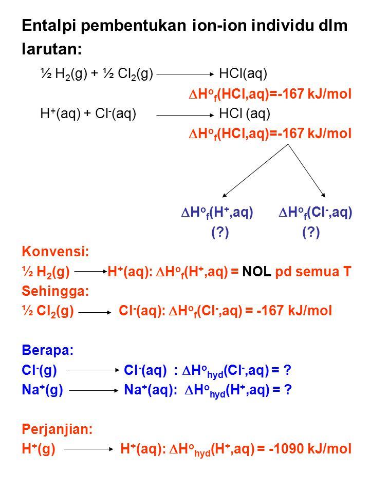 Entalpi pembentukan ion-ion individu dlm larutan: ½ H 2 (g) + ½ Cl 2 (g) HCl(aq)  H o f (HCl,aq)=-167 kJ/mol H + (aq) + Cl - (aq)HCl (aq)  H o f (HC