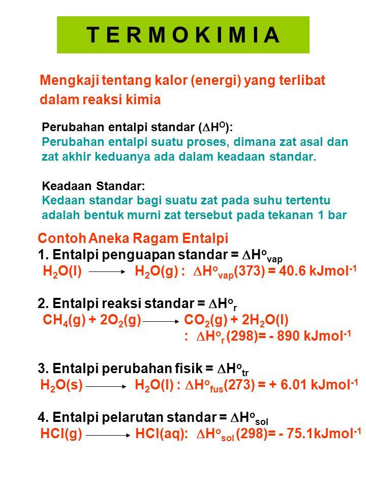 Perubahan entalpi standar (  H O ): Perubahan entalpi suatu proses, dimana zat asal dan zat akhir keduanya ada dalam keadaan standar. Keadaan Standar