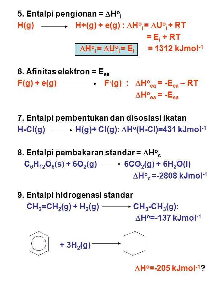 5. Entalpi pengionan =  H o i H(g)H+(g) + e(g) :  H o i =  U o i + RT = E i + RT  H o i =  U o i = E i = 1312 kJmol -1 6. Afinitas elektron = E e
