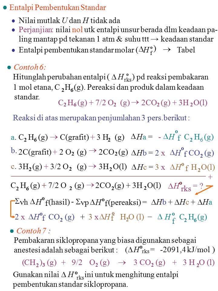  Nilai mutlak U dan H tidak ada  Perjanjian: nilai nol utk entalpi unsur berada dlm keadaan pa- ling mantap pd tekanan 1 atm & suhu ttt → keadaan st