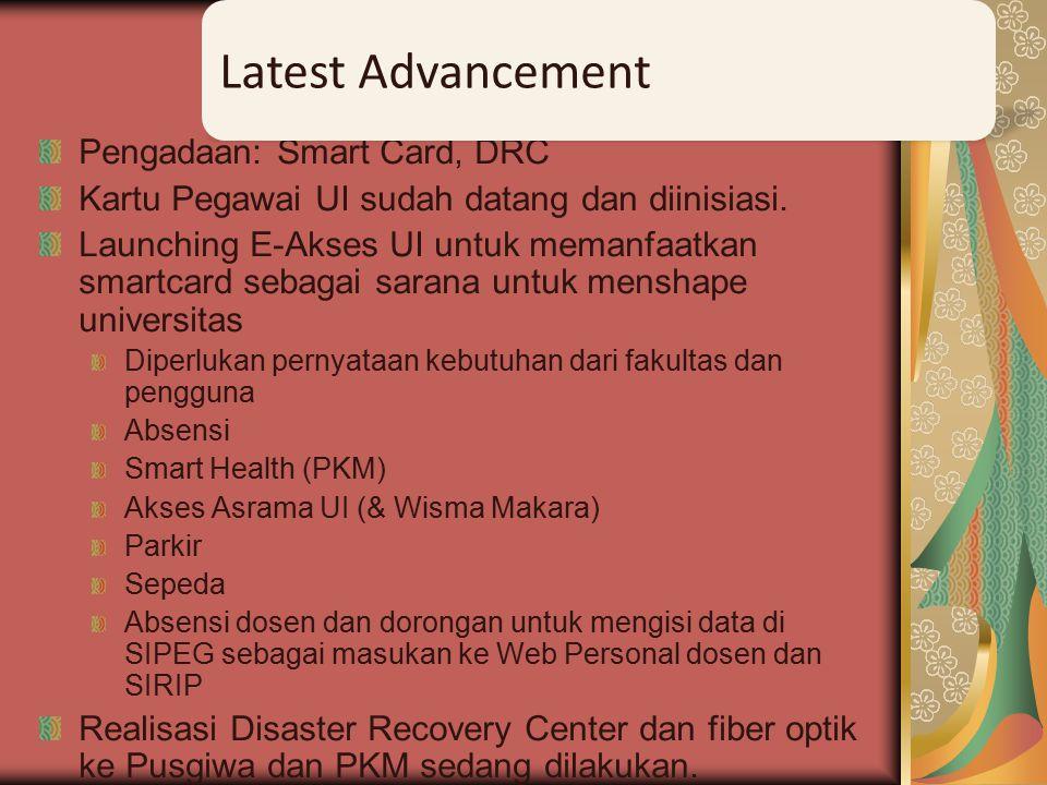 Pengadaan: Smart Card, DRC Kartu Pegawai UI sudah datang dan diinisiasi.