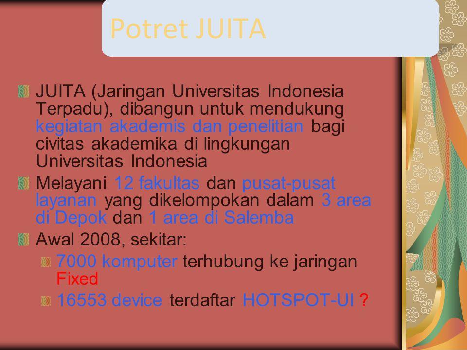 JUITA (Jaringan Universitas Indonesia Terpadu), dibangun untuk mendukung kegiatan akademis dan penelitian bagi civitas akademika di lingkungan Universitas Indonesia Melayani 12 fakultas dan pusat-pusat layanan yang dikelompokan dalam 3 area di Depok dan 1 area di Salemba Awal 2008, sekitar: 7000 komputer terhubung ke jaringan Fixed 16553 device terdaftar HOTSPOT-UI .