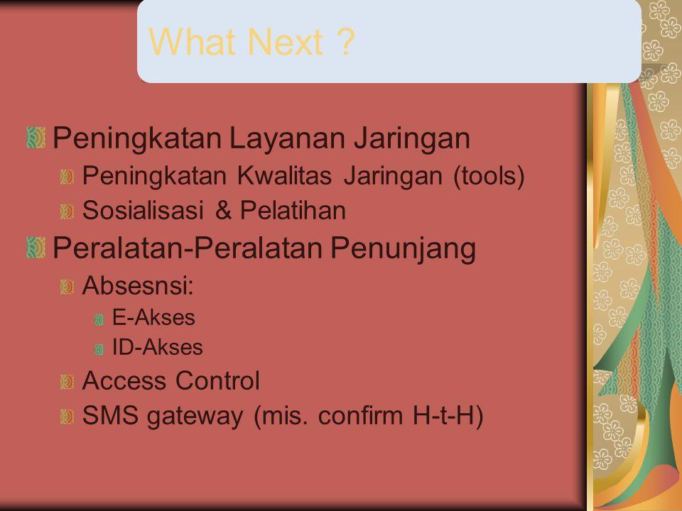 Peningkatan Layanan Jaringan Peningkatan Kwalitas Jaringan (tools) Sosialisasi & Pelatihan Peralatan-Peralatan Penunjang Absesnsi: E-Akses ID-Akses Access Control SMS gateway (mis.