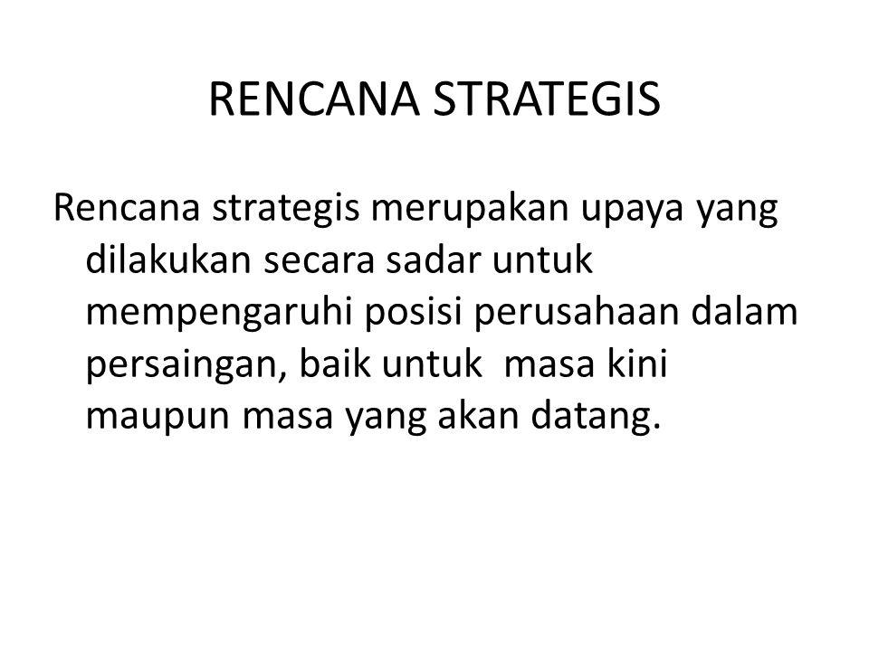RENCANA STRATEGIS Rencana strategis merupakan upaya yang dilakukan secara sadar untuk mempengaruhi posisi perusahaan dalam persaingan, baik untuk masa