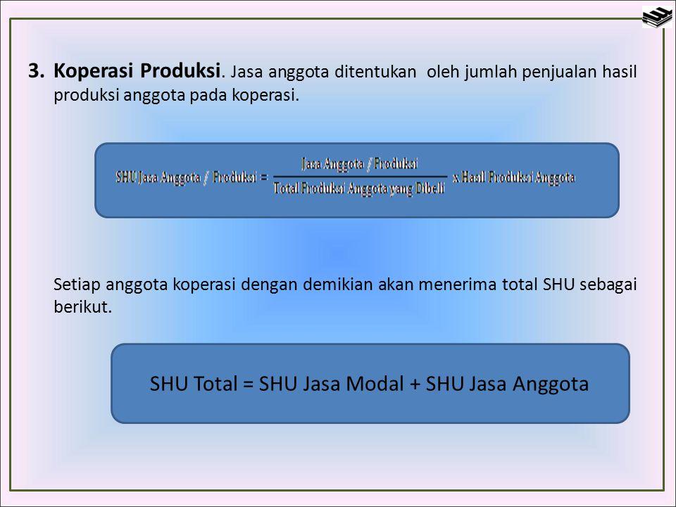 Perhitungan SHU Perhitungan SHU tergantung pada ragam usaha koperasi.
