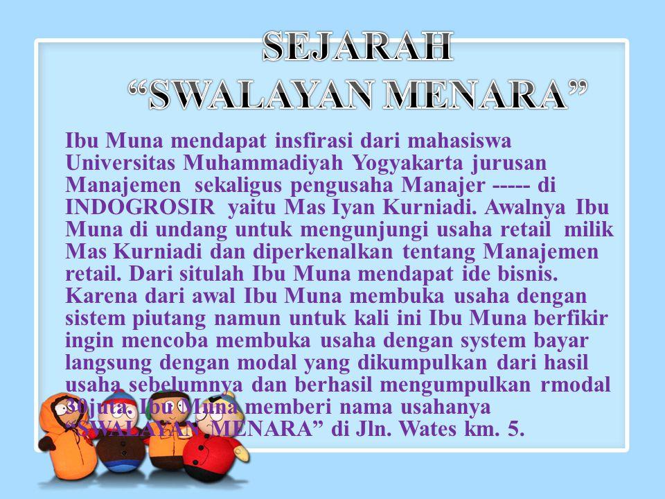 Ibu Muna mendapat insfirasi dari mahasiswa Universitas Muhammadiyah Yogyakarta jurusan Manajemen sekaligus pengusaha Manajer ----- di INDOGROSIR yaitu