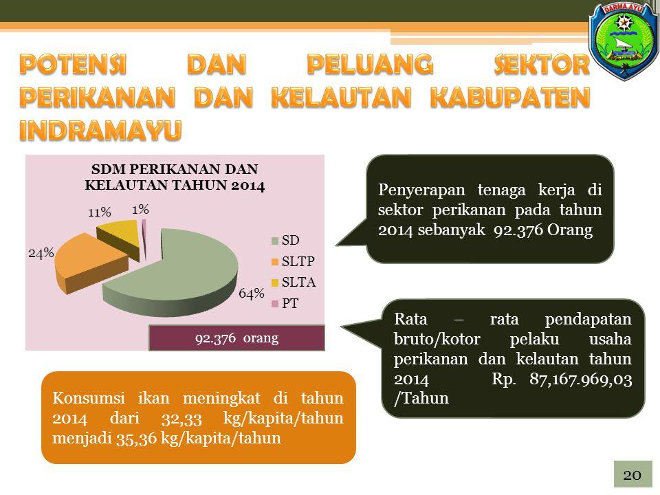 92.376 orang Penyerapan tenaga kerja di sektor perikanan pada tahun 2014 sebanyak 92.376 Orang Rata – rata pendapatan bruto/kotor pelaku usaha perikanan dan kelautan tahun 2014 Rp.
