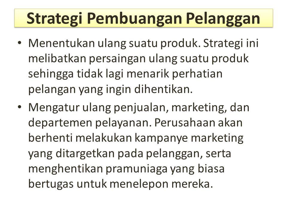 Strategi Pembuangan Pelanggan Menentukan ulang suatu produk. Strategi ini melibatkan persaingan ulang suatu produk sehingga tidak lagi menarik perhati