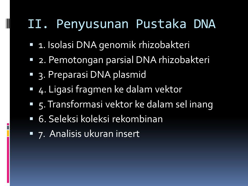 II. Penyusunan Pustaka DNA  1. Isolasi DNA genomik rhizobakteri  2. Pemotongan parsial DNA rhizobakteri  3. Preparasi DNA plasmid  4. Ligasi fragm