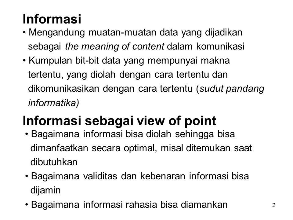 2 Informasi Mengandung muatan-muatan data yang dijadikan sebagai the meaning of content dalam komunikasi Kumpulan bit-bit data yang mempunyai makna te