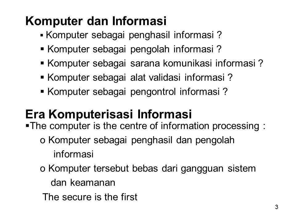 3 Komputer dan Informasi  Komputer sebagai penghasil informasi ?  Komputer sebagai pengolah informasi ?  Komputer sebagai sarana komunikasi informa