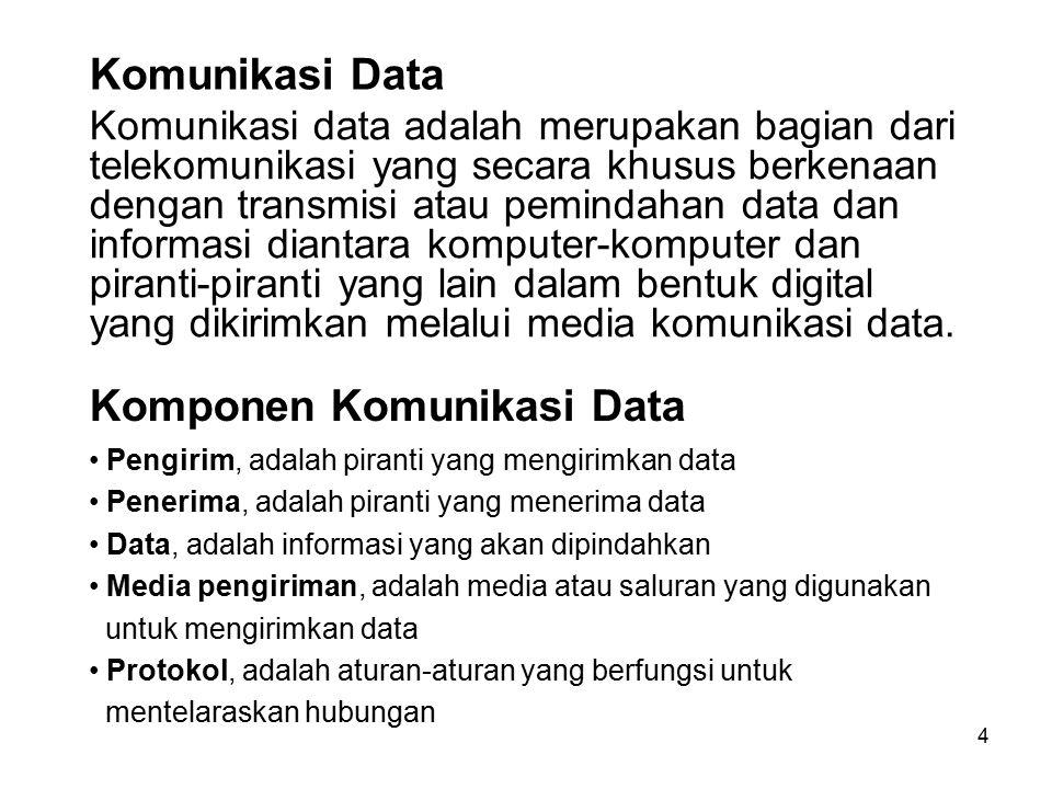 4 Komunikasi Data Komunikasi data adalah merupakan bagian dari telekomunikasi yang secara khusus berkenaan dengan transmisi atau pemindahan data dan i