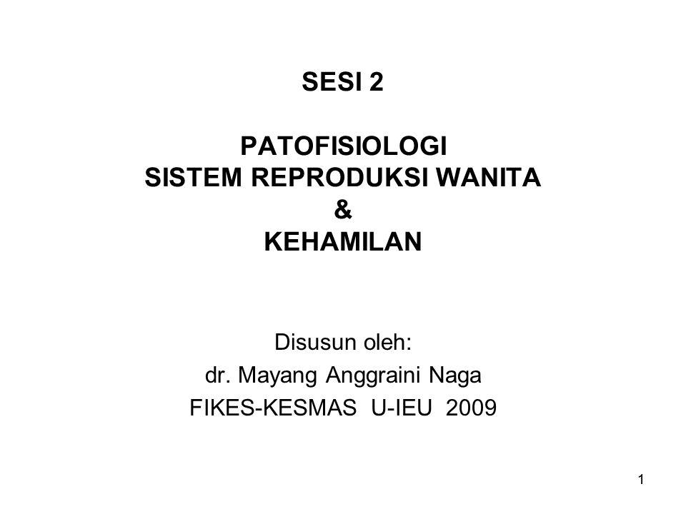 1 SESI 2 PATOFISIOLOGI SISTEM REPRODUKSI WANITA & KEHAMILAN Disusun oleh: dr. Mayang Anggraini Naga FIKES-KESMAS U-IEU 2009 1