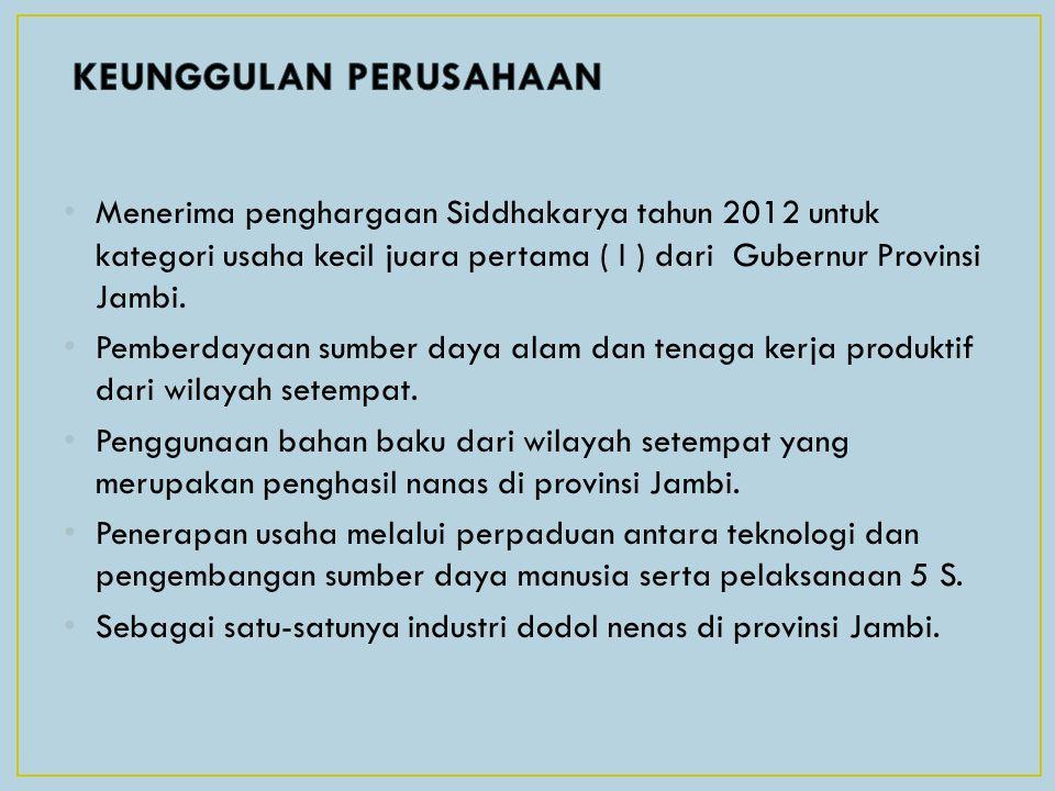 Menerima penghargaan Siddhakarya tahun 2012 untuk kategori usaha kecil juara pertama ( I ) dari Gubernur Provinsi Jambi. Pemberdayaan sumber daya alam