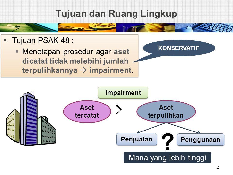 1.Persediaan PSAK 14 2.Aset yang dari kontrak konstruksi PSAK 34 3.Aset pajak tangguhan PSAK 46 4.Aset yang timbul dari imbalan kerja PSAK 24 5.Aset keuangan PSAK 55 6.Properti investasi PSAK 13 7.Biaya akuisisi tangguhan, dan aset tidak berwujud, yang timbul dari hak kontraktual penanggung berdasarkan kontrak asuransi PSAK 28 8.Aset tidak lancar yang diklasifikasikan sebagai dimiliki untuk dijual PSAK 58 1.Persediaan PSAK 14 2.Aset yang dari kontrak konstruksi PSAK 34 3.Aset pajak tangguhan PSAK 46 4.Aset yang timbul dari imbalan kerja PSAK 24 5.Aset keuangan PSAK 55 6.Properti investasi PSAK 13 7.Biaya akuisisi tangguhan, dan aset tidak berwujud, yang timbul dari hak kontraktual penanggung berdasarkan kontrak asuransi PSAK 28 8.Aset tidak lancar yang diklasifikasikan sebagai dimiliki untuk dijual PSAK 58 Ruang Lingkup - Pengecualian PSAK 48 Par 2 3 PSAK 48 diterapkan penurunan nilai, KECUALI :