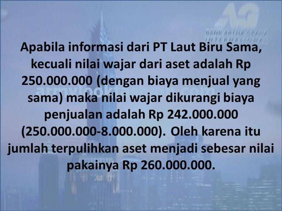 Apabila informasi dari PT Laut Biru Sama, kecuali nilai wajar dari aset adalah Rp 250.000.000 (dengan biaya menjual yang sama) maka nilai wajar dikura