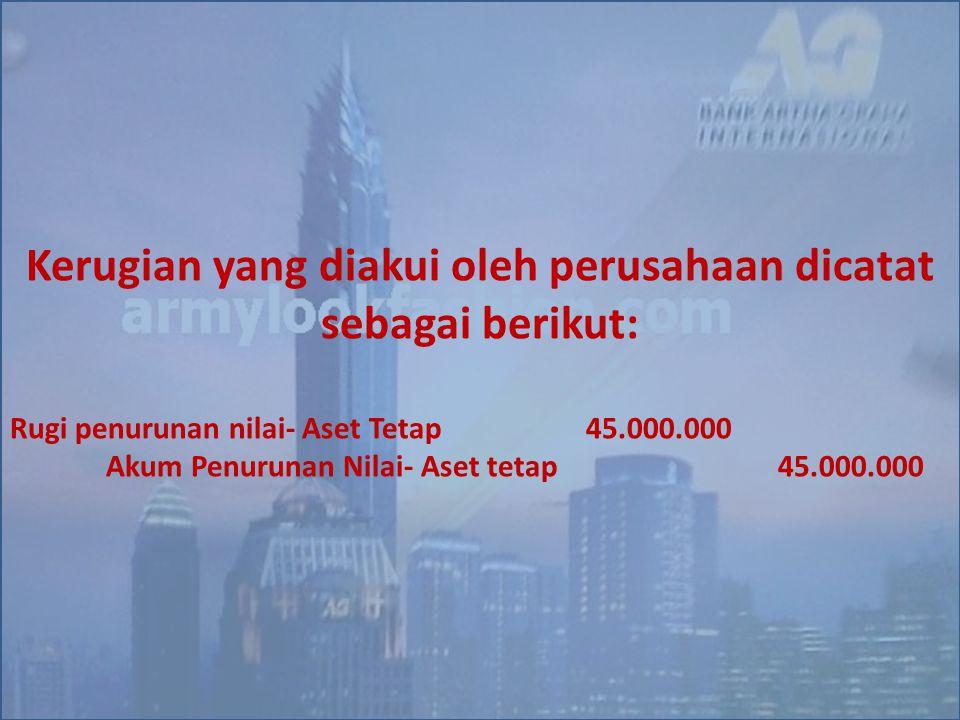 Kerugian yang diakui oleh perusahaan dicatat sebagai berikut: Rugi penurunan nilai- Aset Tetap45.000.000 Akum Penurunan Nilai- Aset tetap45.000.000