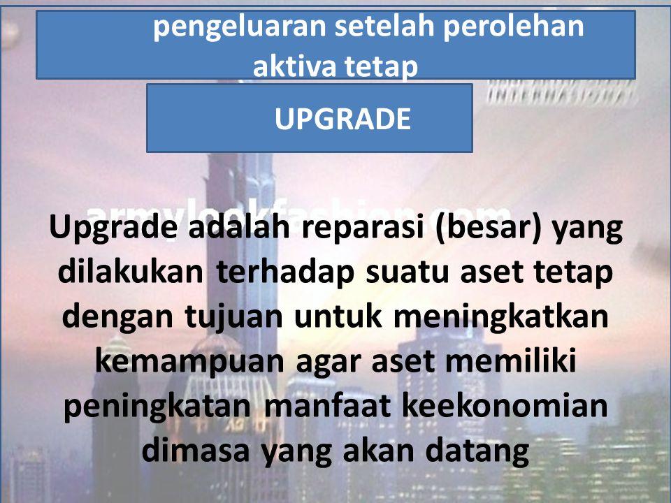 Upgrade adalah reparasi (besar) yang dilakukan terhadap suatu aset tetap dengan tujuan untuk meningkatkan kemampuan agar aset memiliki peningkatan man