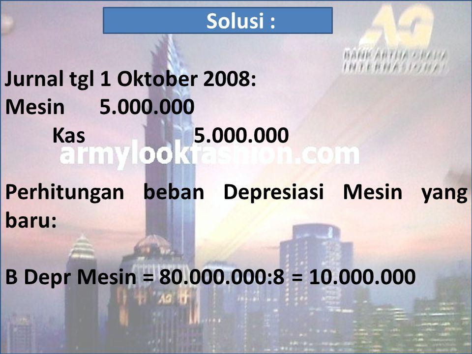 Jurnal tgl 1 Oktober 2008: Mesin 5.000.000 Kas 5.000.000 Perhitungan beban Depresiasi Mesin yang baru: B Depr Mesin = 80.000.000:8 = 10.000.000 Solusi