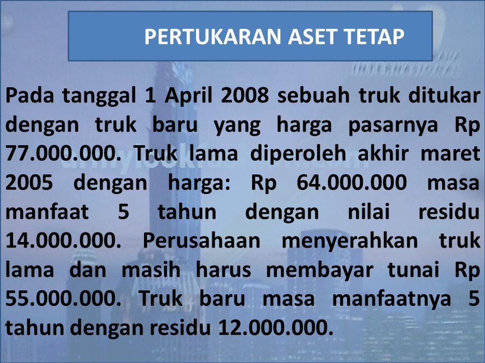 Pada tanggal 1 April 2008 sebuah truk ditukar dengan truk baru yang harga pasarnya Rp 77.000.000. Truk lama diperoleh akhir maret 2005 dengan harga: R