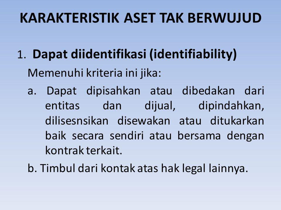 KARAKTERISTIK ASET TAK BERWUJUD 1. Dapat diidentifikasi (identifiability) Memenuhi kriteria ini jika: a. Dapat dipisahkan atau dibedakan dari entitas