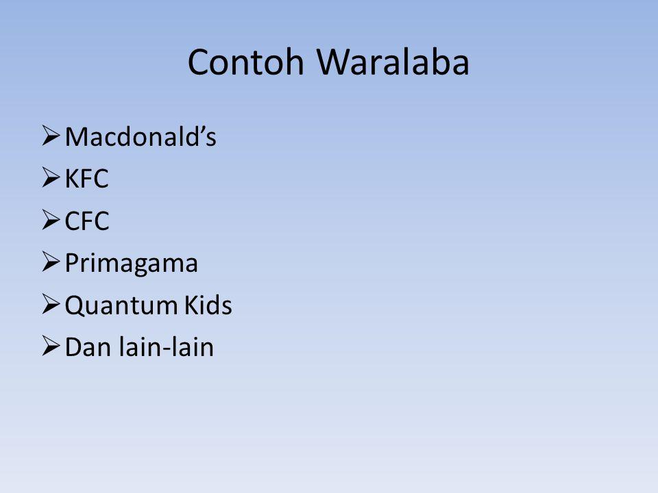 Contoh Waralaba  Macdonald's  KFC  CFC  Primagama  Quantum Kids  Dan lain-lain