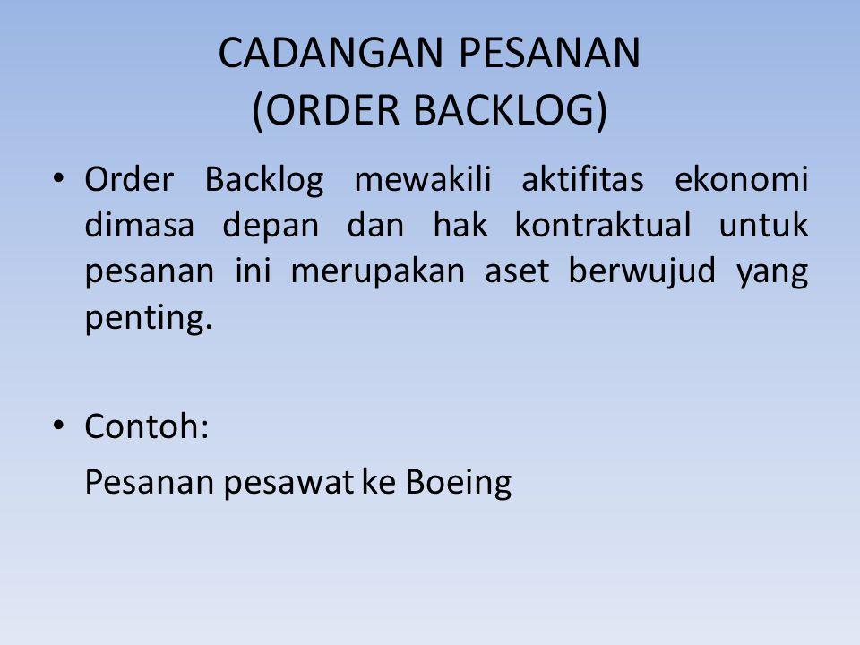 CADANGAN PESANAN (ORDER BACKLOG) Order Backlog mewakili aktifitas ekonomi dimasa depan dan hak kontraktual untuk pesanan ini merupakan aset berwujud y