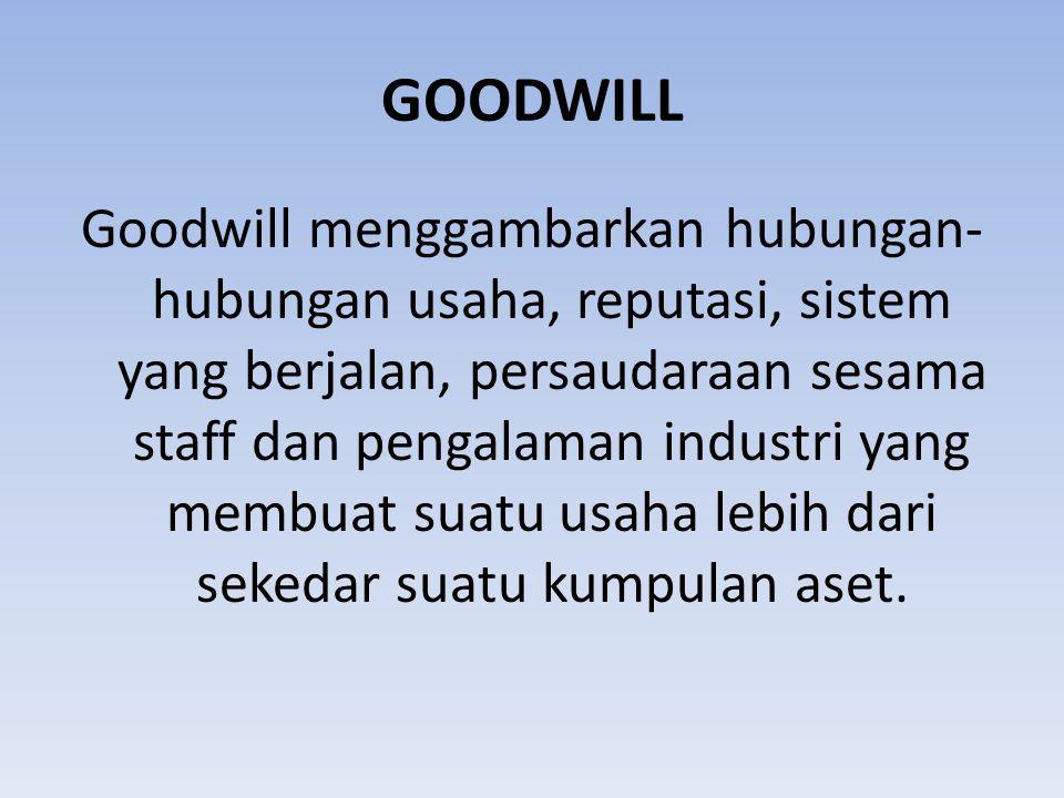 GOODWILL Goodwill menggambarkan hubungan- hubungan usaha, reputasi, sistem yang berjalan, persaudaraan sesama staff dan pengalaman industri yang membu