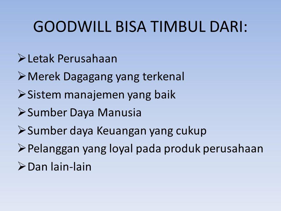 GOODWILL BISA TIMBUL DARI:  Letak Perusahaan  Merek Dagagang yang terkenal  Sistem manajemen yang baik  Sumber Daya Manusia  Sumber daya Keuangan