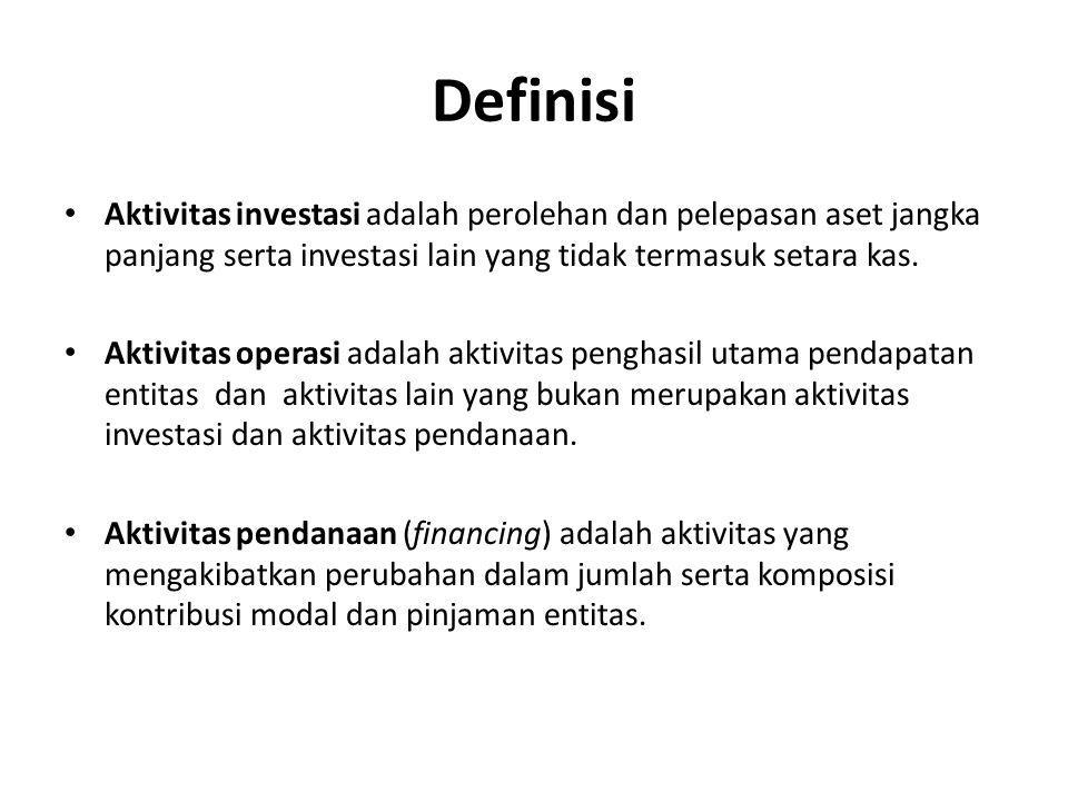 Definisi Aktivitas investasi adalah perolehan dan pelepasan aset jangka panjang serta investasi lain yang tidak termasuk setara kas. Aktivitas operasi