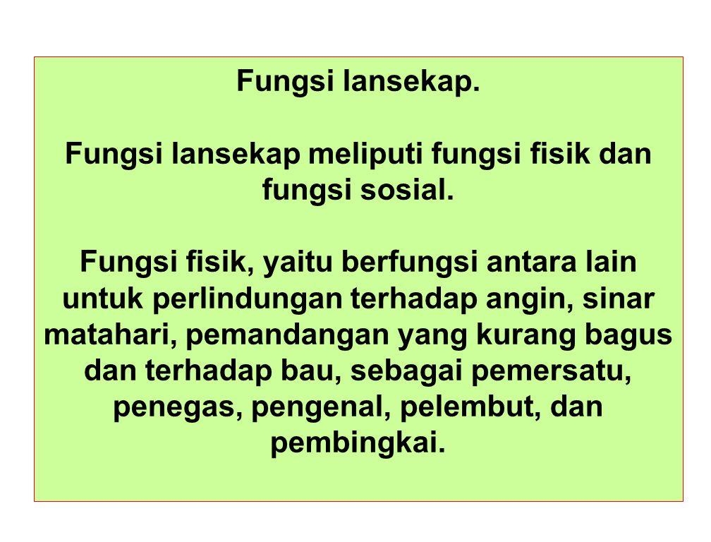 Fungsi lansekap. Fungsi lansekap meliputi fungsi fisik dan fungsi sosial. Fungsi fisik, yaitu berfungsi antara lain untuk perlindungan terhadap angin,