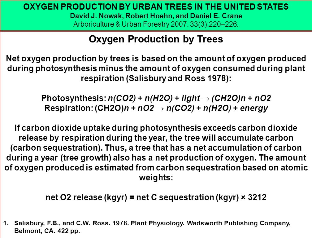 OXYGEN PRODUCTION BY URBAN TREES IN THE UNITED STATES David J.