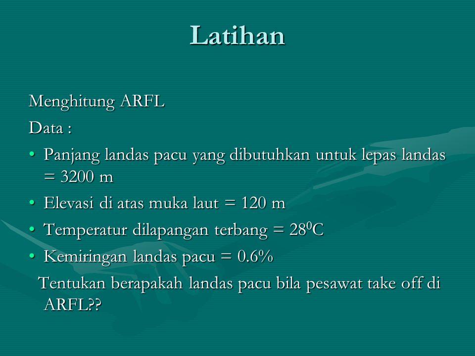 Latihan Menghitung ARFL Data : Panjang landas pacu yang dibutuhkan untuk lepas landas = 3200 mPanjang landas pacu yang dibutuhkan untuk lepas landas =