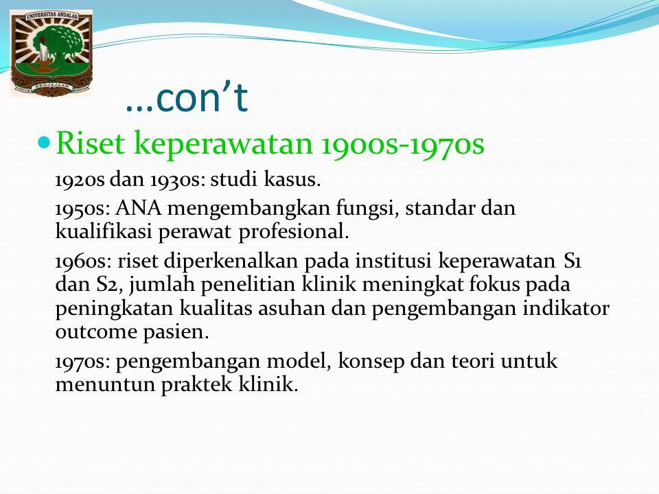 …con't Riset keperawatan 1900s-1970s 1920s dan 1930s: studi kasus. 1950s: ANA mengembangkan fungsi, standar dan kualifikasi perawat profesional. 1960s
