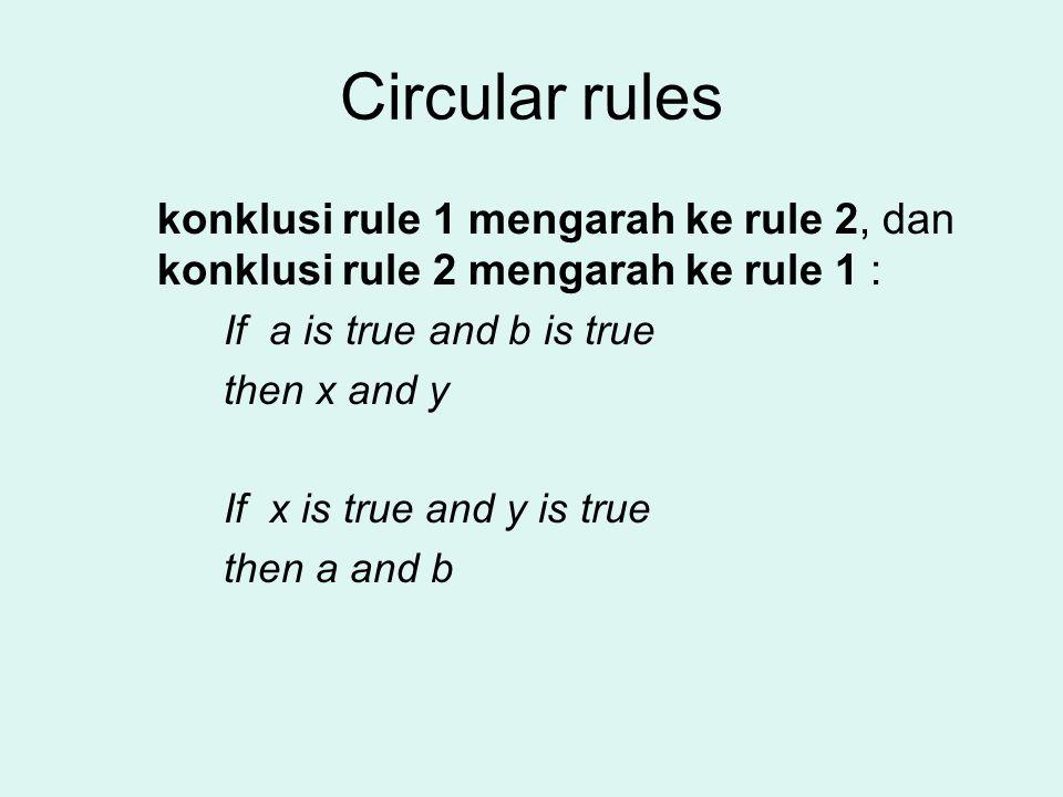 Circular rules konklusi rule 1 mengarah ke rule 2, dan konklusi rule 2 mengarah ke rule 1 : If a is true and b is true then x and y If x is true and y