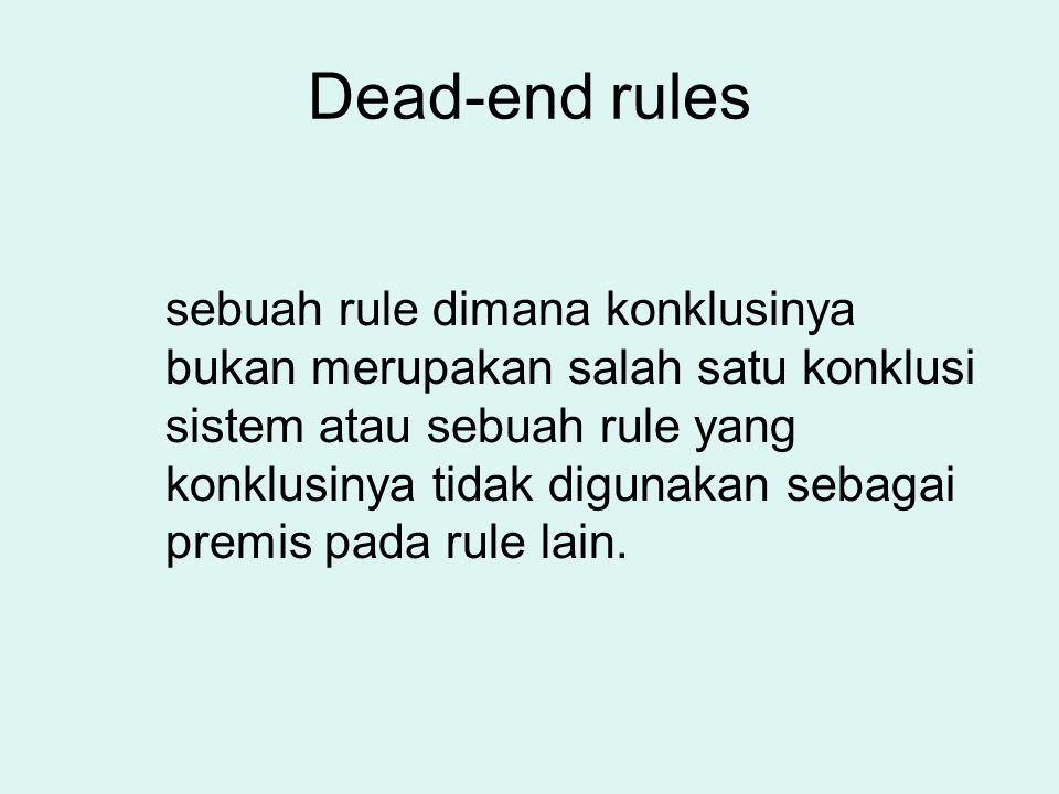 Dead-end rules sebuah rule dimana konklusinya bukan merupakan salah satu konklusi sistem atau sebuah rule yang konklusinya tidak digunakan sebagai pre