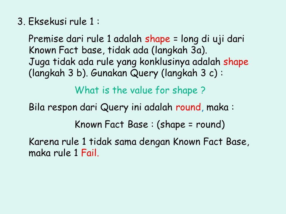 3. Eksekusi rule 1 : Premise dari rule 1 adalah shape = long di uji dari Known Fact base, tidak ada (langkah 3a). Juga tidak ada rule yang konklusinya