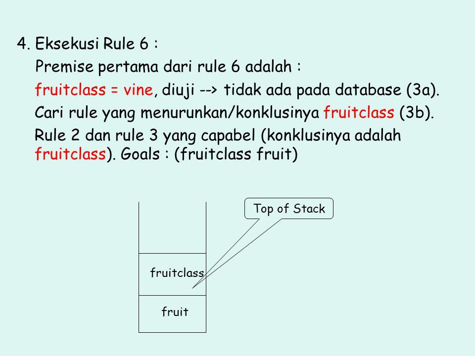 4. Eksekusi Rule 6 : Premise pertama dari rule 6 adalah : fruitclass = vine, diuji --> tidak ada pada database (3a). Cari rule yang menurunkan/konklus